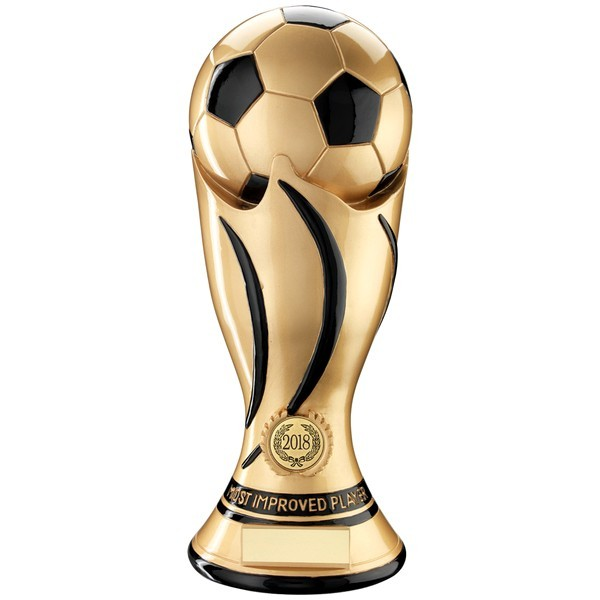 Gold/Black Football Swirl Column Trophy - Most Improved