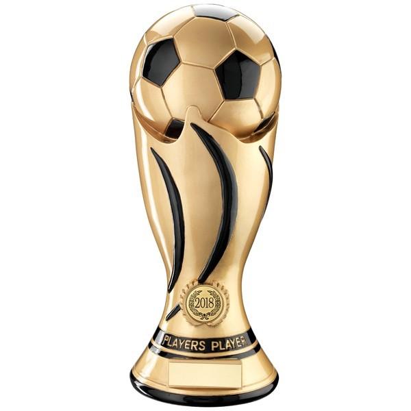 Gold/Black Football Swirl Column Trophy - Players Player