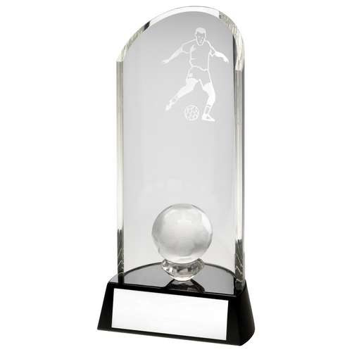 Clear Glass Football Lasered Curve Column and Ball on Black Base Trophy