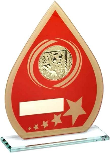 Red/Gold Printed Glass Teardrop With Football Insert Trophy