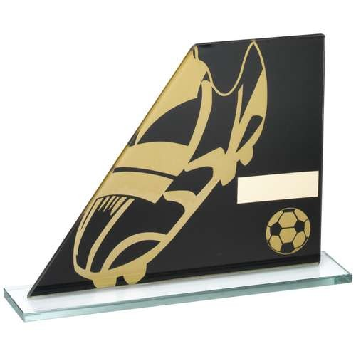 Black/Gold Printed Glass Plaque with Football Boot/Ball Trophy