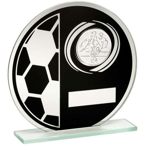 Black/Silver Printed Glass Round Plaque with Football and Centre Holder Trophy