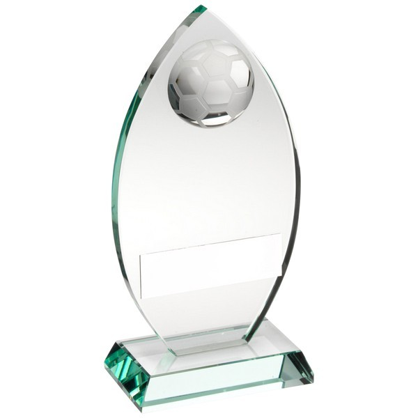 Jade Glass Plaque With Half Football Trophy