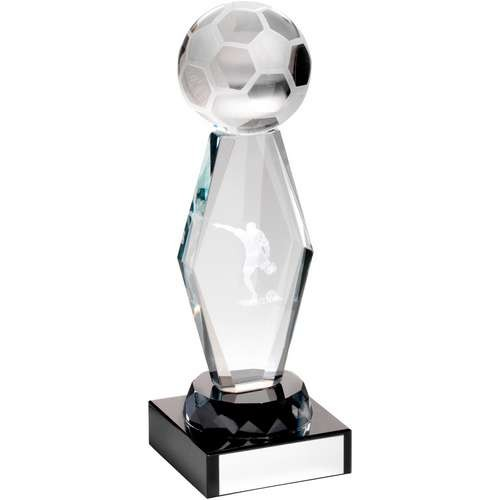 Clear Glass Lasered Football Column on Black Base Trophy