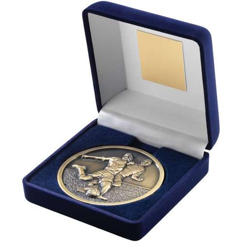 Blue Velvet Box and 70mm Medallion Football Trophy