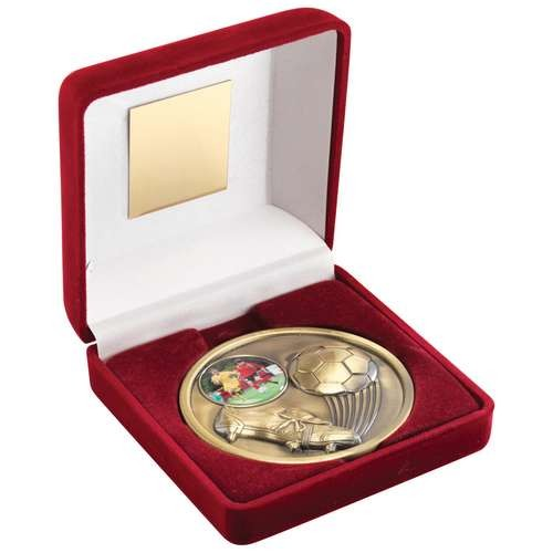 Red Velvet Box and 70mm Medallion Football Trophy