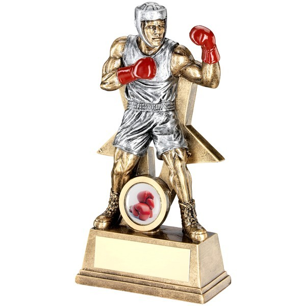 Bronze/Red Male Boxing Figure With Star Backing Trophy