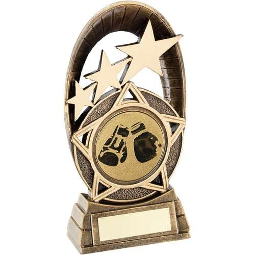 Bronze/Gold Generic Tri-Star Oval with Boxing Insert Trophy