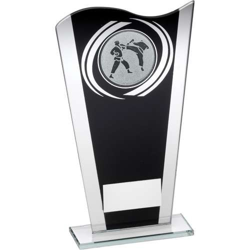 Black/Silver Printed Glass Plaque with Martial Arts Insert Trophy