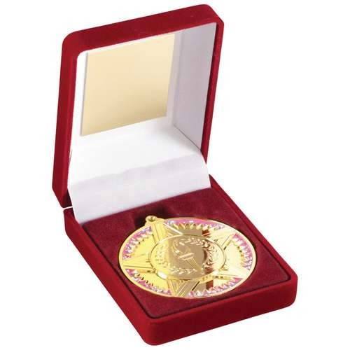 Red Velvet Box and 50mm Medal Star/Torch Trophy