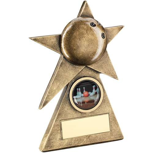 Bronze/Gold Ten Pin Star on Pyramid Base Trophy