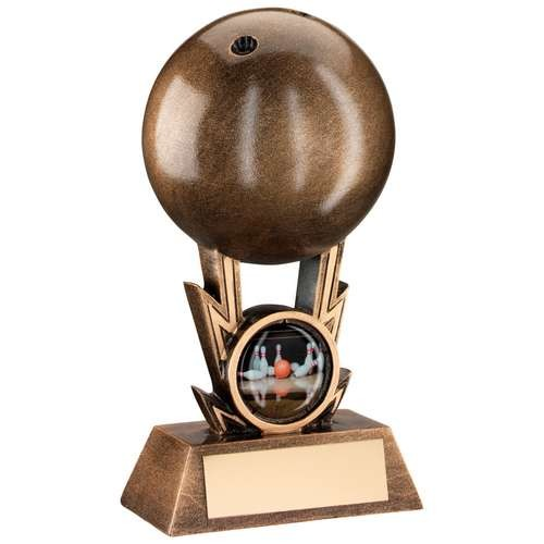 Bronze/Gold Ten Pin Ball on Strikes Trophy