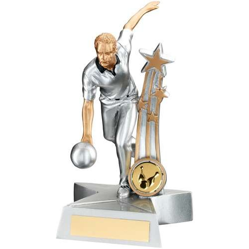 Silver/Gold/Black Resin Male Ten Pin 'Star Action' Figure Trophy