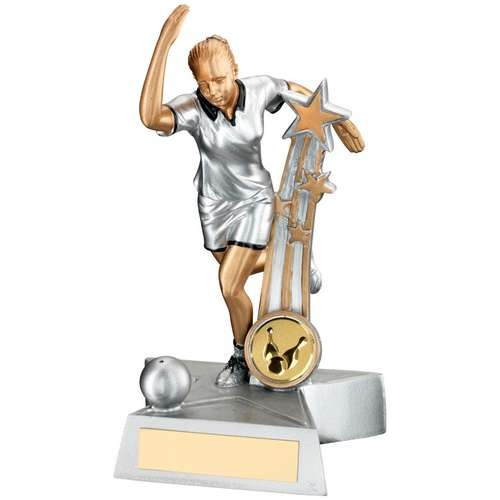 Silver/Gold/Black Resin Female Ten Pin 'Star Action' Figure Trophy