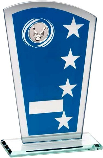 Blue/Silver Printed Glass Shield With Ten Pin Insert Trophy