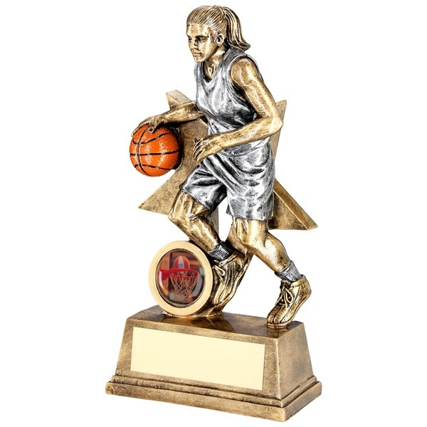 Bronze/Orange Female Basketball Figure With Star Backing Trophy