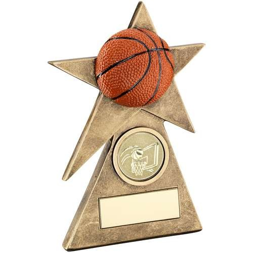 Bronze/Gold/Orange Basketball Star on Pyramid Base Trophy