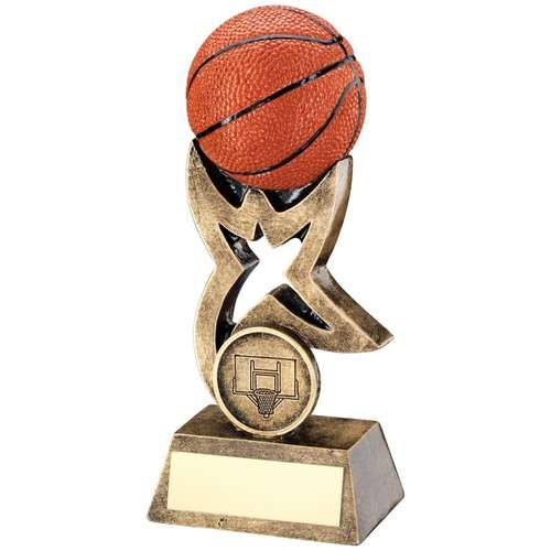 Bronze/Gold/Orange Basketball on Star Trophy Riser Trophy