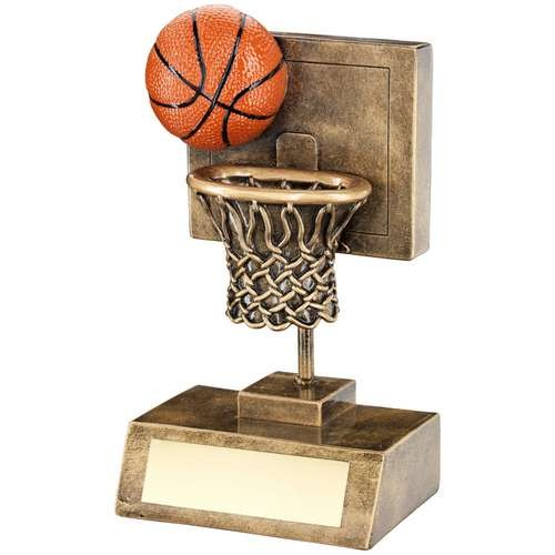 Bronze/Gold/Orange Basketball and Net with Backboard Trophy