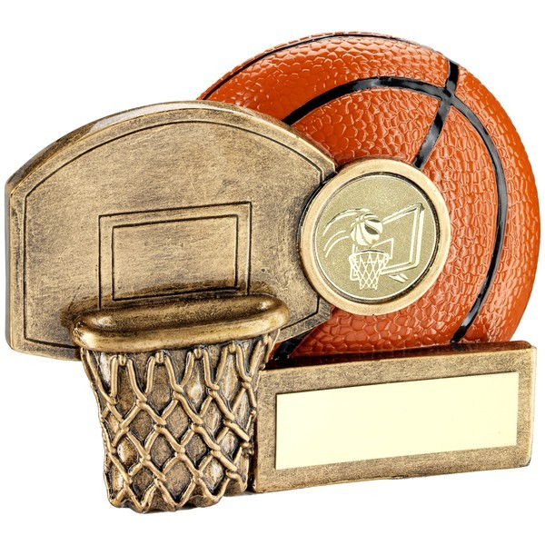 Bronze/Orange Basketball And Net Chunky Flatback Trophy