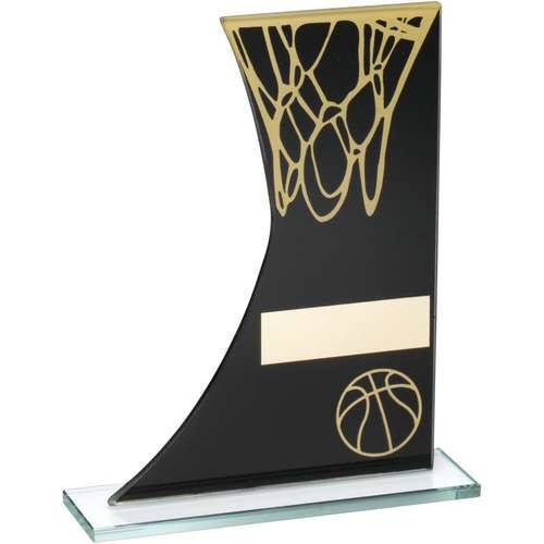 Black/Gold Printed Glass Plaque with Basketball/Net Trophy