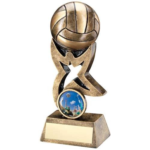 Bronze/Gold Netball on Star Trophy Riser Trophy