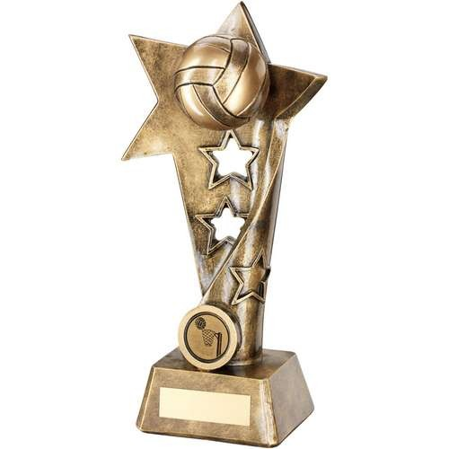 Bronze/Gold Netball Twisted Star Column Trophy