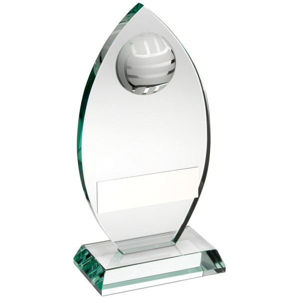 Jade Glass Plaque With Half Netball Trophy