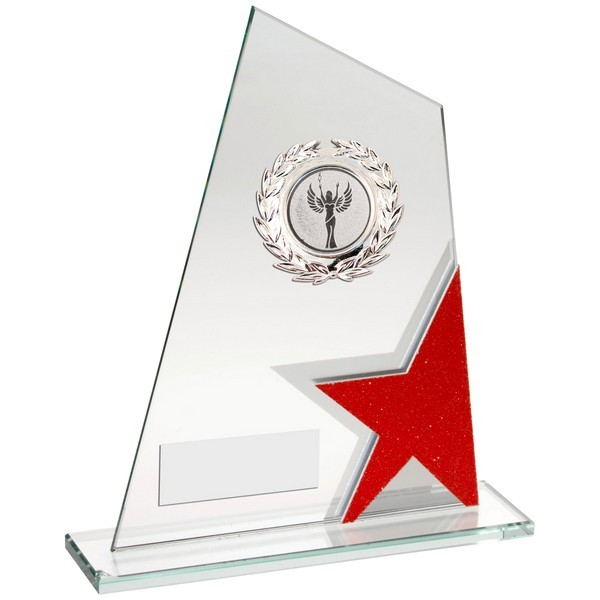 Red/Silver Glass Plaque With Silver Trim Trophy