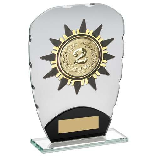 Jade/Black Glass Plaque with Gold Sunshine Trim Trophy