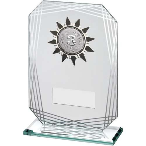 Jade/Silver Rectangle Glass with Silver/Black Sunshine Trim Trophy