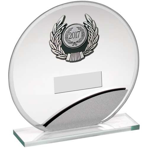 Jade/Silver Round Glass with Silver/Black Trim Trophy