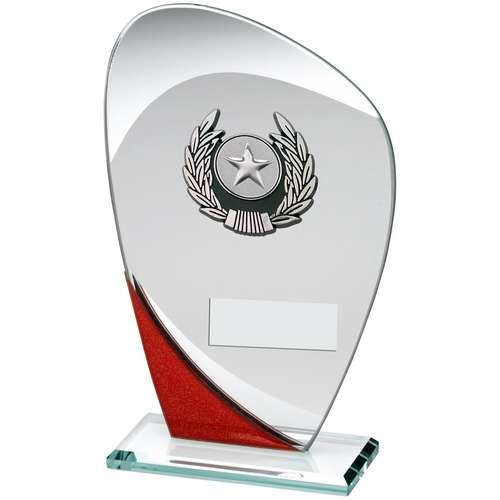 Jade/Red/Silver Glass Plaque with Silver/Black Trim Trophy