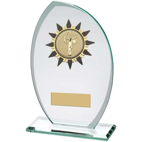 Jade/Frosted Glass Plaque with Gold/Black Sunshine Trim Trophy