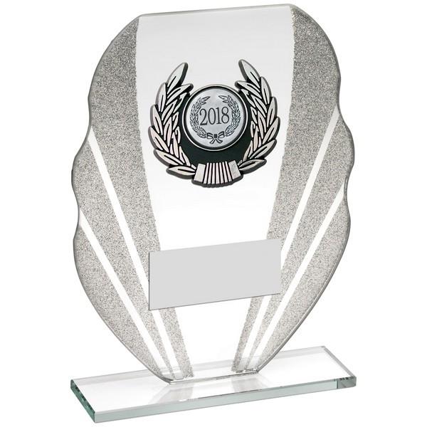 Silver Glitter Glass Award With Silver/Black Trim