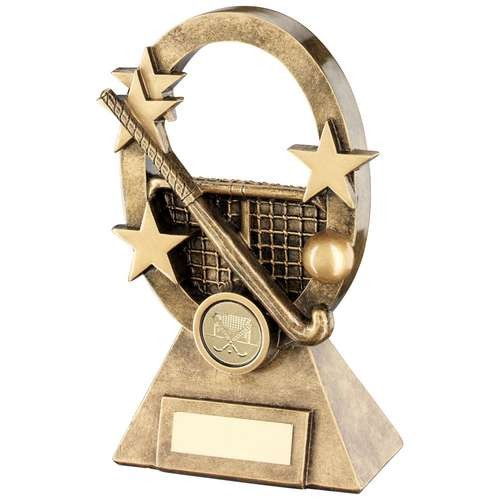 Bronze/Gold Hockey Oval/Stars Series Trophy