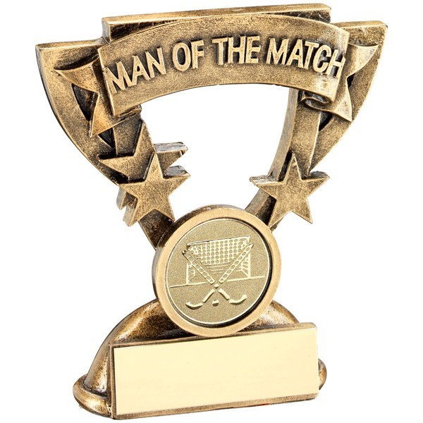 Bronze/Gold Man Of The Match Mini Cup With Hockey Insert Trophy