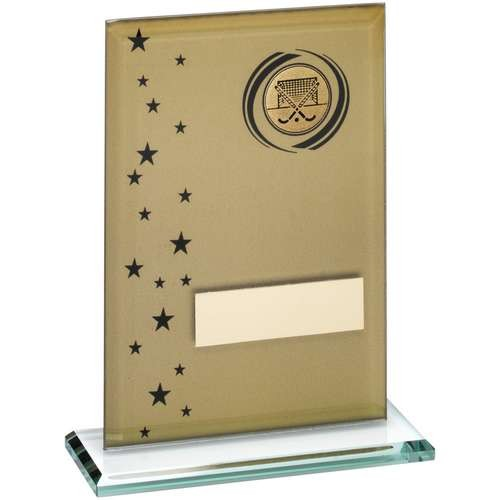 Gold/Black Printed Glass Rectangle with Hockey Insert Trophy