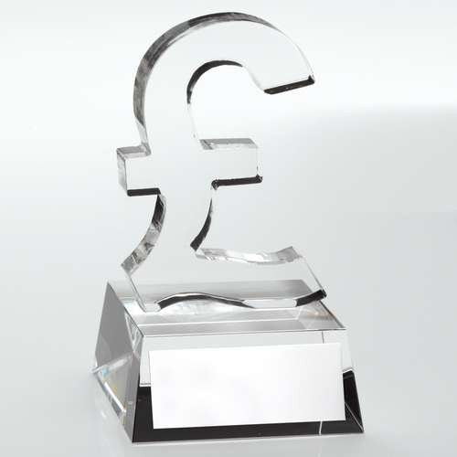 Clear Glass 'Pound Sign' Trophy