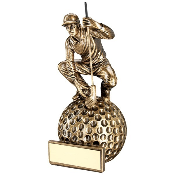 Bronze/Gold 'Crouching' Golfer On Ball Base Trophy