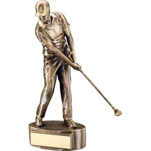 Bronze/Gold Male 'Mid Swing' Golfer Trophy