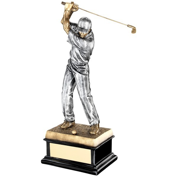 Bronze 'Back Swing' Golfer On Black Base Trophy