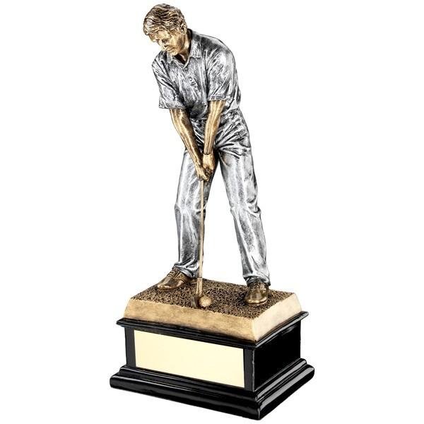 Bronze 'Start Of Swing' Golfer On Black Base Trophy