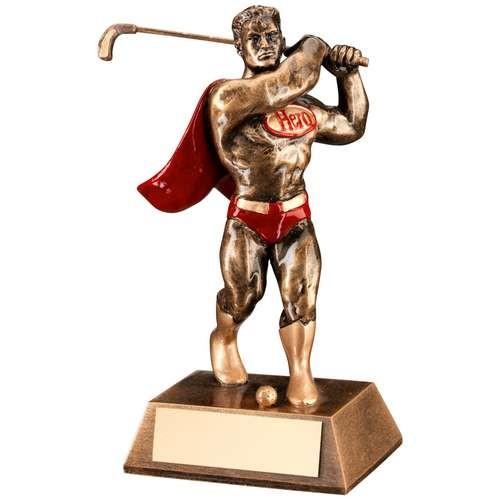 Bronze/Gold/Red Resin Golf 'Hero' Trophy
