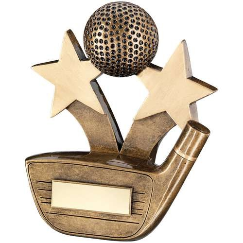 Bronze/Gold Golf Driver and Ball with Stars Trophy