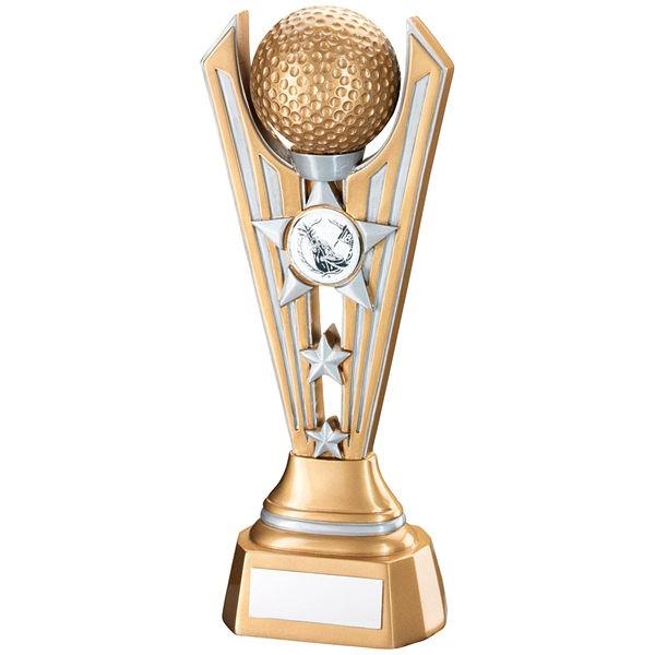 Gold/Silver Resin Golf Tri Star Trophy