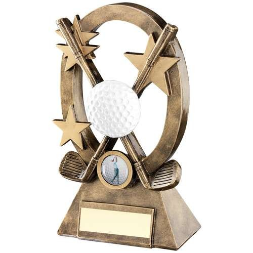 Bronze/Gold/White Golf Oval/Stars Series Trophy