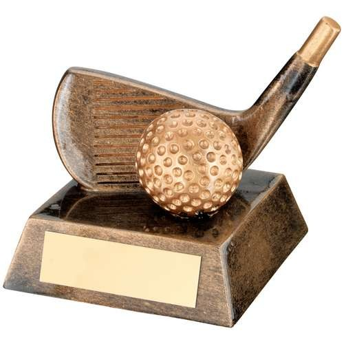 Bronze/Gold Resin Golf 'Wedge' Trophy