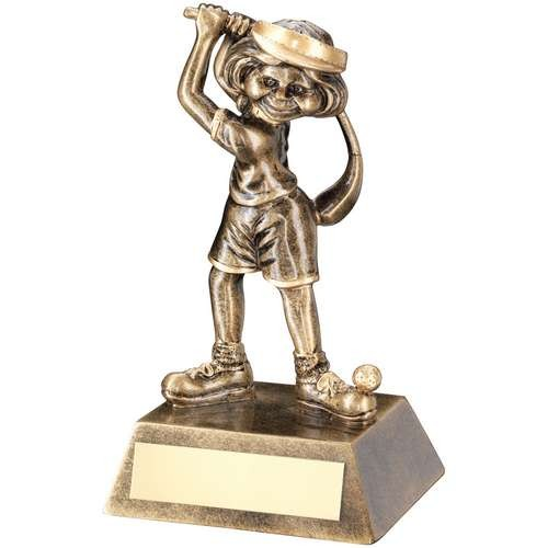 Bronze/Gold Female Comic Golf Figure Trophy