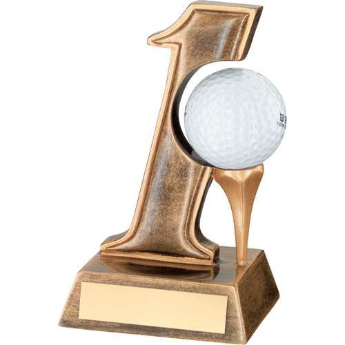 Bronze/Gold Resin 'Hole in One' Golf Trophy